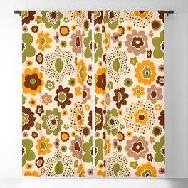 Retro 70s funky flowers brown, orange, green Blackout Curtain