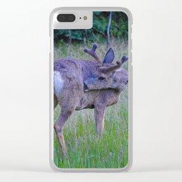 Mule Deer scratching an itch in Jasper National Park Clear iPhone Case