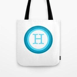 Blue letter H Tote Bag