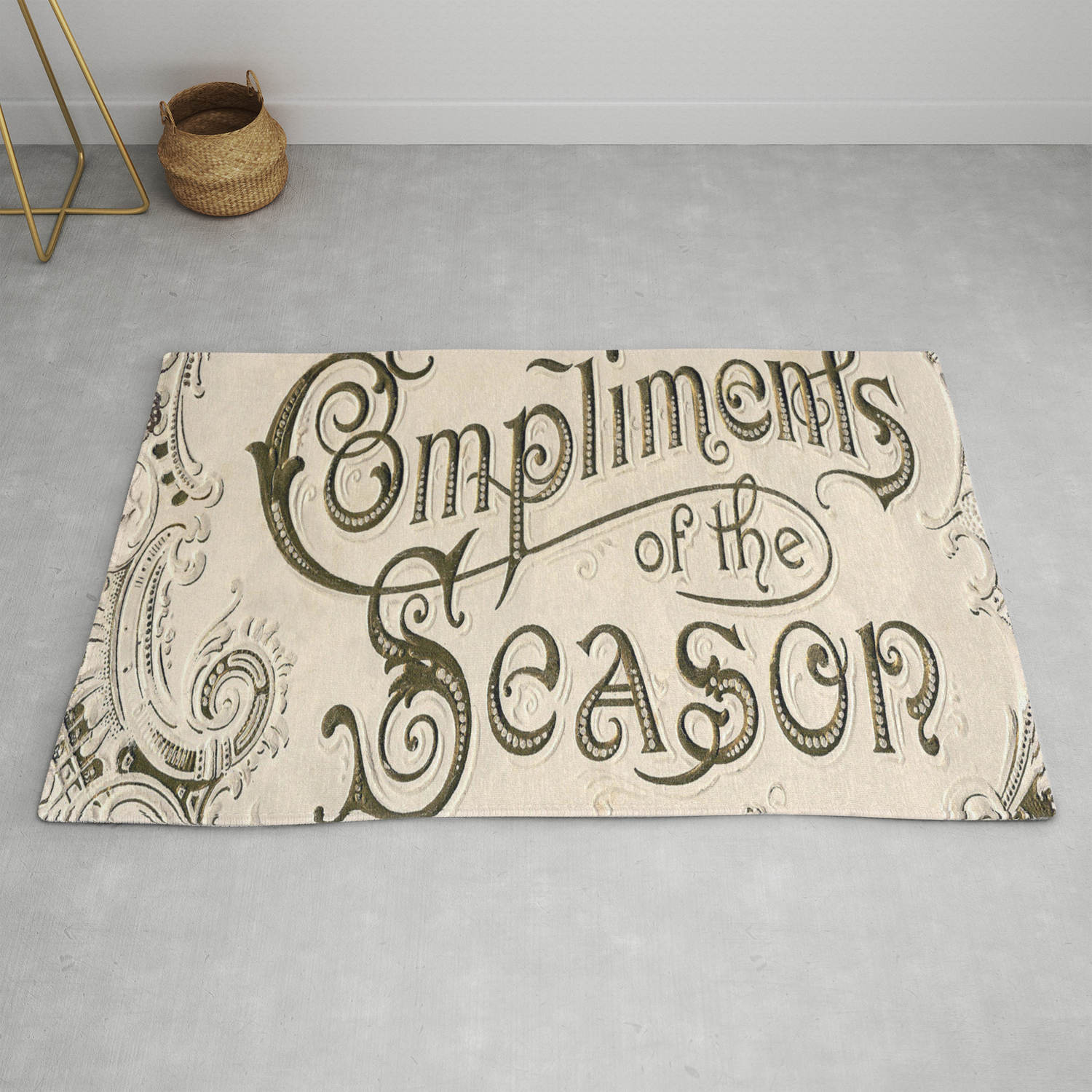 Season S Greetings Shabby Chic French Country Modern Vintage Christmas Typography Rug By Chicelegantboutique Society6