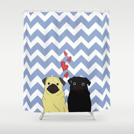 Chevron Pug Shower Curtain