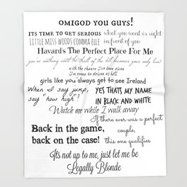 Legally Blonde Musical Quotes Throw Blanket