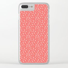 Coral White Stars Pattern Clear iPhone Case