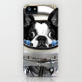 Space Pup with dictionary background iPhone Case