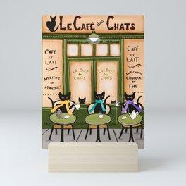 Les Cafe des Chats Mini Art Print
