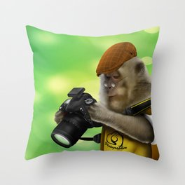 Photographer of the apes Throw Pillow