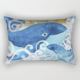 Sandcastle Waves Whales Rectangular Pillow