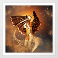 angel Art Prints featuring Angel by nicky2342