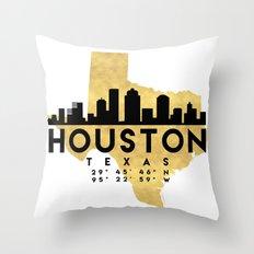 HOUSTON TEXAS SILHOUETTE SKYLINE MAP ART Throw Pillow