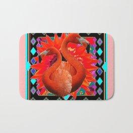 CORAL ART DECO SAFFRON FLORIDA FLAMINGOS ART Bath Mat