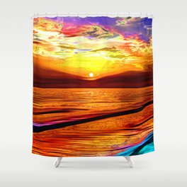 Sunset in Liverpool Bay Shower Curtain