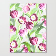 Bright Tulips on Soft Grey Canvas Print