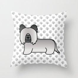 Grey Skye Terrier Dog Cute Cartoon Illustration Throw Pillow