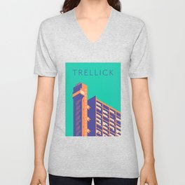 Trellick Tower London Brutalist Architecture - Text Turquoise Unisex V-Neck