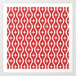 Mid century Modern Bulbous Star Pattern Red Art Print