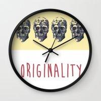 skulls Wall Clocks featuring Skulls  by SofRusso