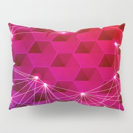 Gradient Purple Red Orange Hexagons Connected by White Nodes and Lines Pillow Sham