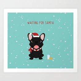 French Bulldog Waiting for Santa - Black / Brindle Edition Art Print