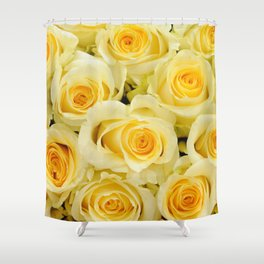 soft yellow roses close up Shower Curtain