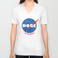 doge V-neck T-shirts featuring Nasa Doge by Tabner's