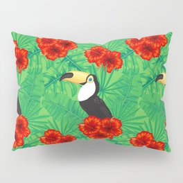 Tropical pattern with toucan and  tropical leaves Pillow Sham