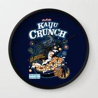 kaiju Wall Clocks featuring Kaiju Crunch by Matt Dearden