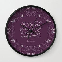 Purple Floral Love Quote  Emma Jane Austen Wall Clock
