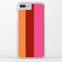 Modern girly pink fashion color block stripes Clear iPhone Case