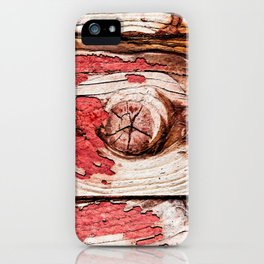 Knotty Wooden Planks Painted Red Long Time Ago iPhone Case