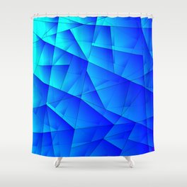 Bright sea pattern of heavenly and blue triangles and irregularly shaped lines. Shower Curtain