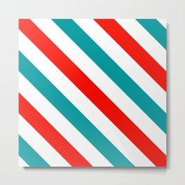 Diagonal Stripes Pattern: Barber Stripes Metal Print