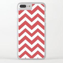 English vermillion - pink color -  Zigzag Chevron Pattern Clear iPhone Case