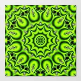 Spring Garden Mandala, Abstract Star Burst Delightful Spirals Canvas Print