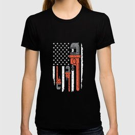 Funny Mechanic Car American Flag Apparel T-shirt