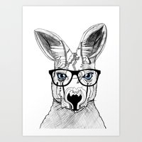 kangaroo Art Prints featuring kangaroo by  Steve Wade ( Swade)