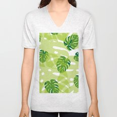 green monstera jungle Unisex V-Neck