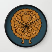 pi Wall Clocks featuring Apple Pi by Perdita