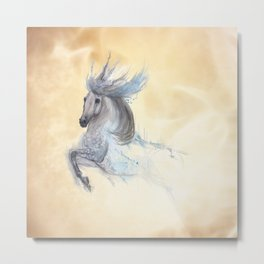 Dancing white horse Metal Print
