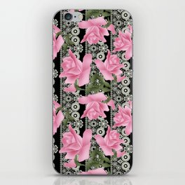 Gentle roses on a lace background. iPhone Skin