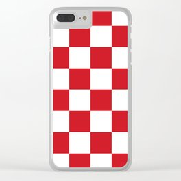 Large Checkered - White and Fire Engine Red Clear iPhone Case