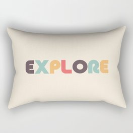 Retro Explore Typography Rectangular Pillow