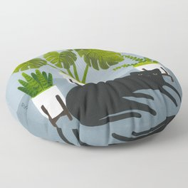 Black Cat With Potted Plants Floor Pillow