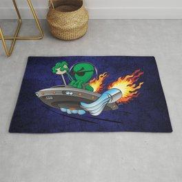 UFO Alien Hot Rod Cartoon Illustration Rug