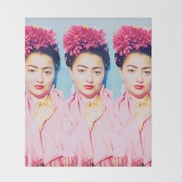 Tres Fridas in Pink Throw Blanket
