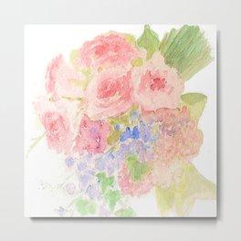 Garden Bouquet Watercolor Wedding Pink Roses Metal Print