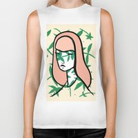 plant Biker Tanks featuring Plant Girl by Visualcrafter