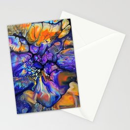 Purple and Orange Marble Pour Stationery Cards