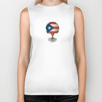 puerto rico Biker Tanks featuring Vintage Tree of Life with Flag of Puerto Rico by Jeff Bartels