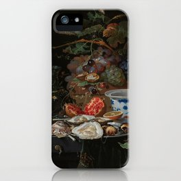 Still life with fruits, oysters and a porcelain bowl, Abraham Mignon (1660 - 1679) iPhone Case