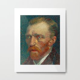 Vincent Van Gogh Self Portrait With Starry Night In His Eyes Metal Print
